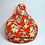 Thumbnail: XL size Bean Buddy, Bright Red Floral print, water resistant
