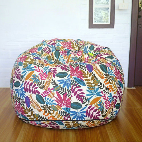 Large plump bean bag, LDN fabric light floral print