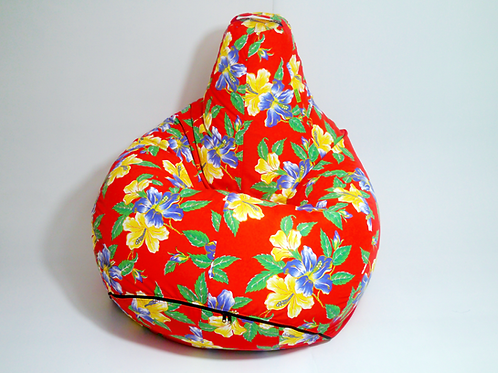 XL size Bean Buddy, Bright Red Floral print, water resistant