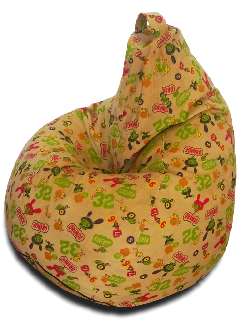 M size bean bag for kigs, printed beige corduroy