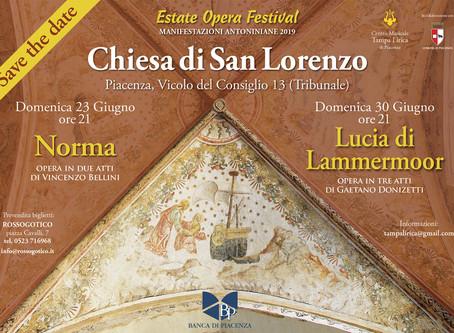 """Piacenza: """"Estate Opera Festival""""  Lucia di Lammermoor"""