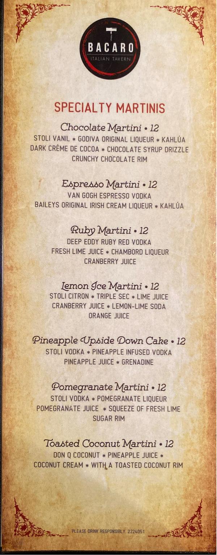 martinis menu
