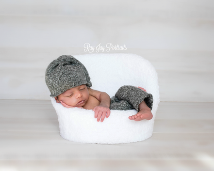 gray and white simple newborn photo