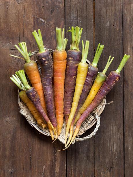 Fresh, Organic Rainbow Carrots