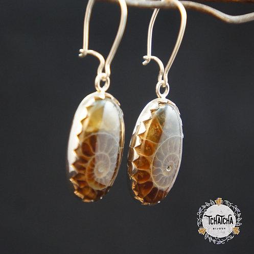 boucles d'oreille en argent 925 ammonites