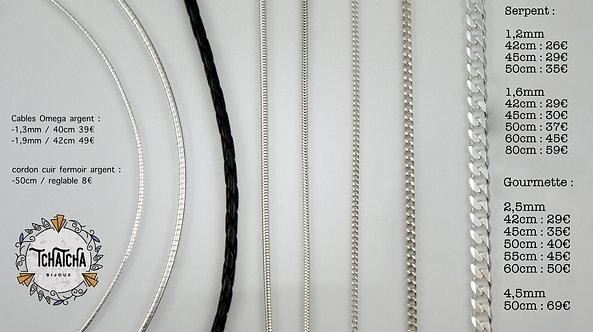 Chaine 1,2mm maille serpent argent 925