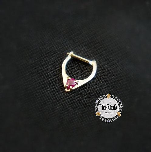 clicker en or 18k rubis