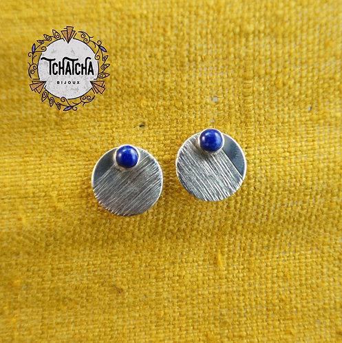 Puces d'oreille argent 925 lapis lazuli