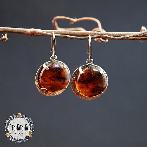 boucles d'oreille en argent 925 ambre Chiapas