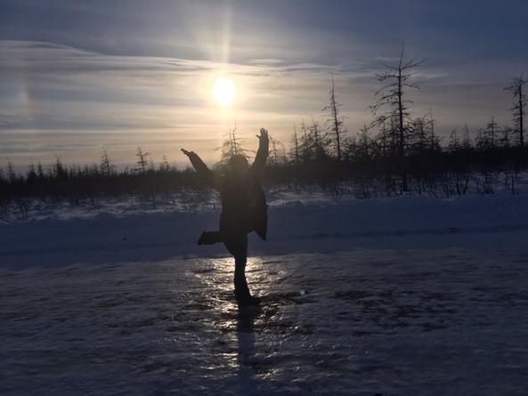 Krystle posing on the James Bay ice road