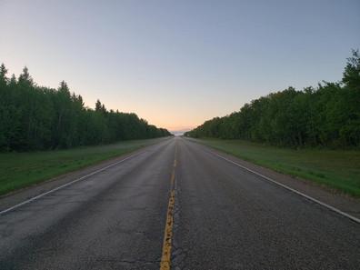On the road in Saskatchewan