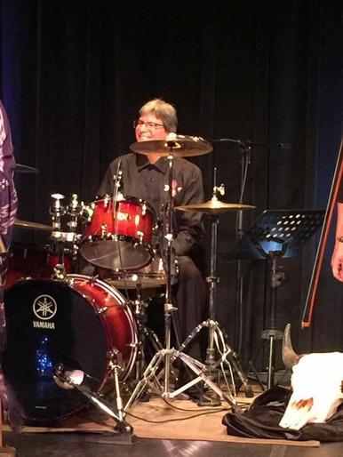 Our drummer Rob Turner at the Gordon Tootoosis Nīkānīwin Theatre, Saskatoon