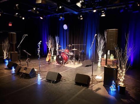 Stage set for the  performance at the Gordon Tootoosis Nīkānīwin Theatre, Saskatoon