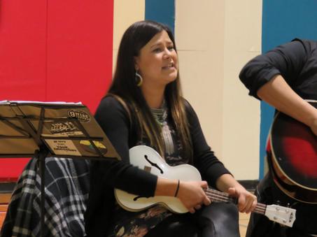 Krystle performing at the Francine J. Wesley Secondary School in Kashechewan