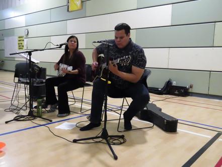 Krystle and Lance performing at the Kattiwapiskak Elementary School, Attawapiskat