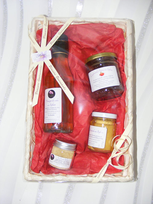 Panier gourmand Vinaigre de cidre, Confiture, Sel, Moutarde