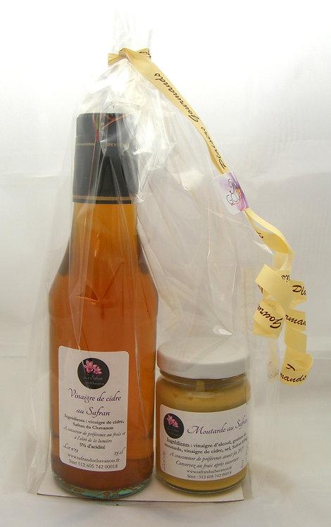 Composition gourmande vinaigre de cidre et moutarde au Safran
