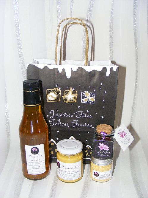 Composition gourmande moutarde, vinaigre de cidre, sel fin et 1g de Safran
