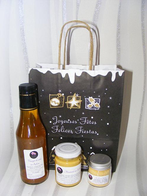 Composition gourmande moutarde, vinaigre de cidre et sel fin au Safran
