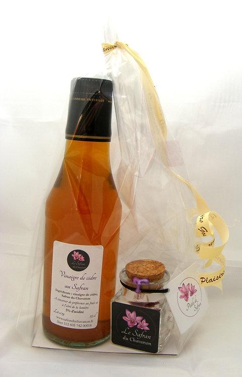 Composition gourmande vinaigre de cidre au Safran et pistils de Safran