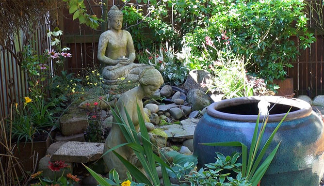 Relax in our zen garden with a cup of coffee or tea and free wifi