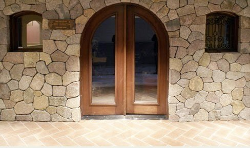 Interior stone wine cellar