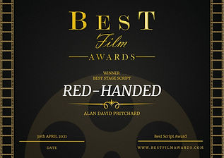 Alan David Pritchard Red-Handed Best Stage Script Best Film Awards 2021