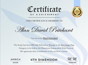 Alan David Pritchard Red-Handed Best Stage Script 4th Dimension Independent Film Awards 2021