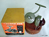 Alpha 408 vintage spinning fishing reel with box & paper work