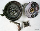 Reflex vintage fishing reel made in Australia  exposed rotor view.