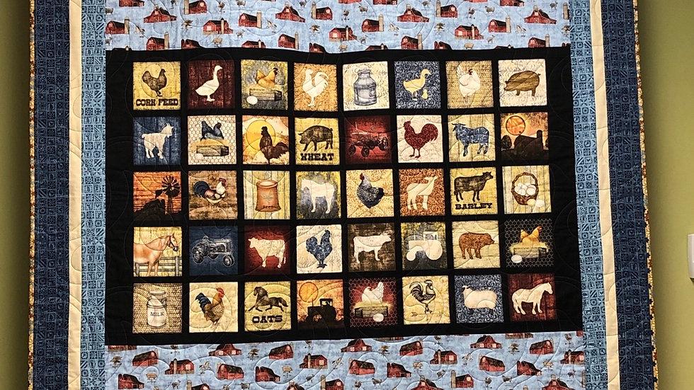 """Bountiful Farm Quilt 55"""" x 61"""""""
