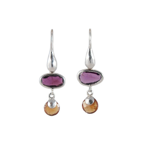 Earrings garnet and hessonite briolette