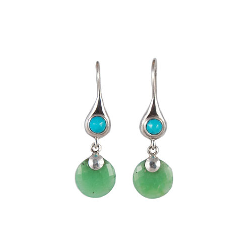 Turquoise and chrysoprase earrings