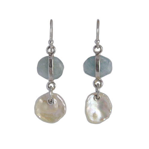 "Aquamarine and keshi ""petal"" pearl earrings"