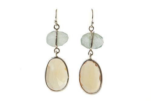 Aquamarine and citrine earrings