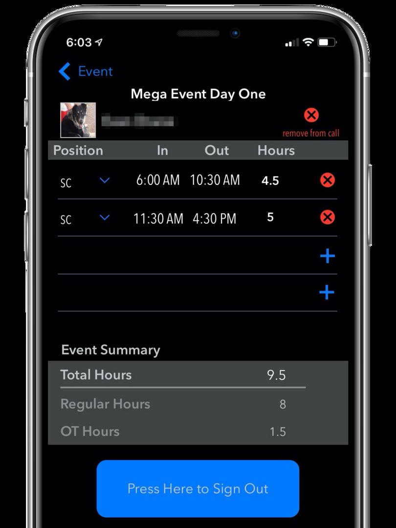 Event Shift Details