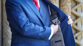 Elegant blue suit.