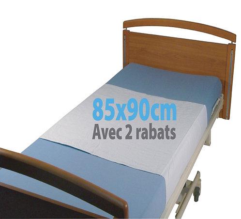 ALESE DE LIT IMPERMEABLE REUTILISABLE 85X90 CM AVEC 2 RABATS