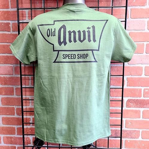 Old Anvil Speed Shop T-Shirt - Olive Green