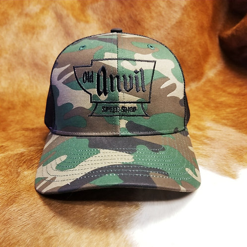 Old Anvil Embroidered Camo Baseball Hat