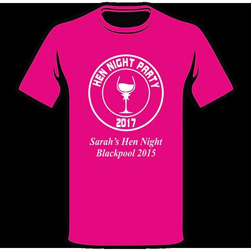 Hen Wine Glass Pink T-Shirt, Hen Night T-Shirt, Hen Do T-Shirt, Funny T-Shirt, Joke T-Shirt, Classic T-Shirt