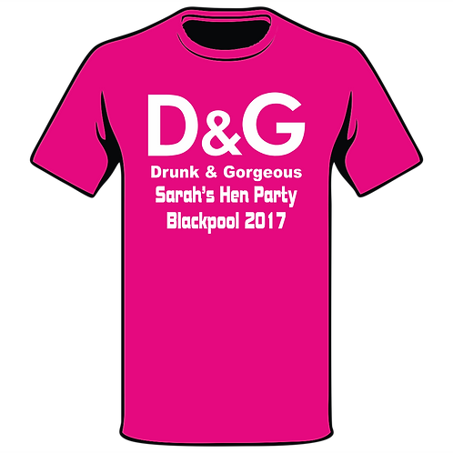 D & G  Pink T-Shirt, Hen Night T-Shirt, Hen Do T-Shirt, Funny T-Shirt, Joke T-Shirt, Classic T-Shirt