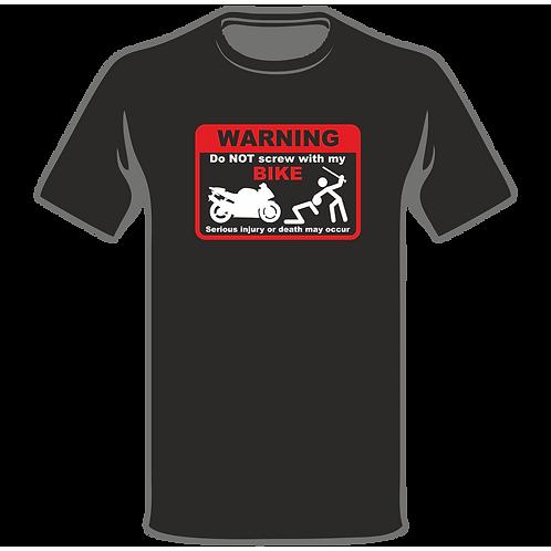 Warning Screw With My Bike  T-Shirt, Biker T-Shirt, Biker T-Shirt, Funny T-Shirt, Joke T-Shirt, Humor T-Shirt, Classic T-Shir
