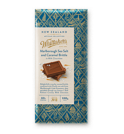 Whittakers Marlborough Sea Salt & Caramel Brittle Block 100g 海鹽焦糖朱古力
