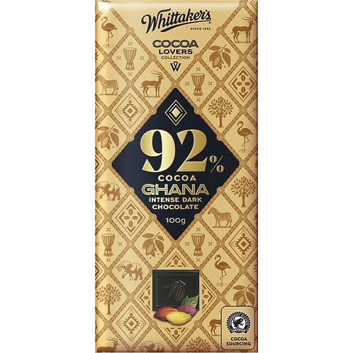 Whittakers Cocoa Lovers 92% Ghana Intense Dark Chocolate Block 100g