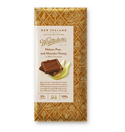 Whittakers Nelson Pear & Manuka Honey Block 100g 梨麥蘆卡蜂蜜朱古力