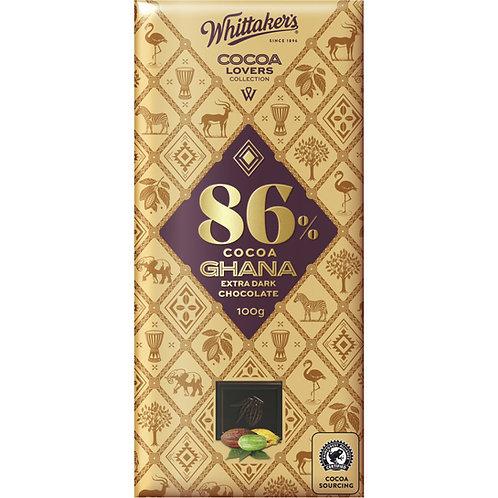 Whittakers Cocoa Lovers 86% Ghana Extra Dark Chocolate Block 100g