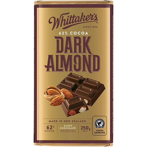 Whittakers Dark Almond Block 250g 杏仁黑朱古力