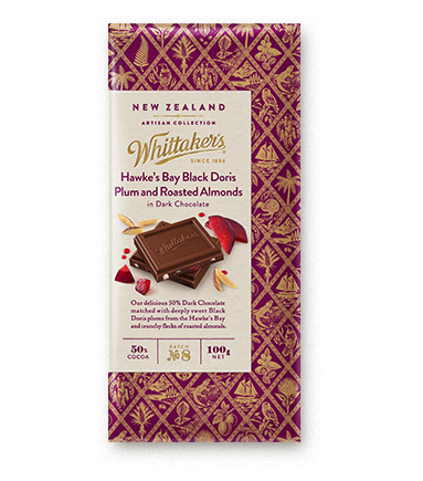 Whittakers Hawke's Bay Black Doris Plum and Roasted Almonds Block 100g 李子杏仁朱古力