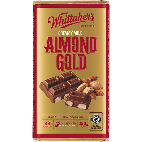 Whittakers Almond Gold Block 250g 杏仁朱古力